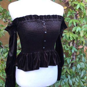 NWT Greysn Black Velvet Off Shoulder Top XS